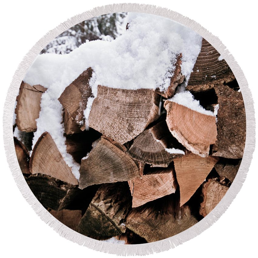 Firewood Round Beach Towel featuring the photograph Firewood by Robert J Caputo