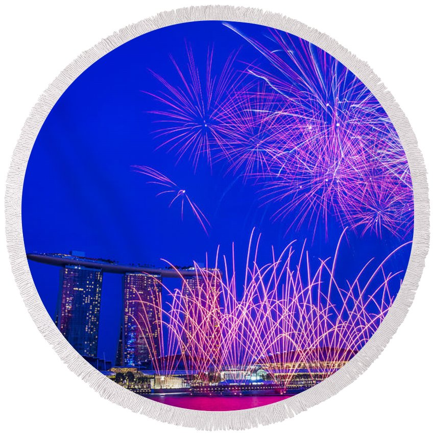 Anniversary Round Beach Towel featuring the photograph Firework 2 by Jijo George