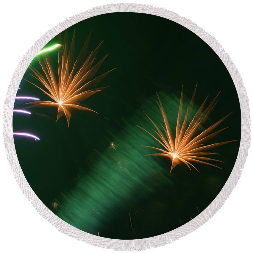Abstract Round Beach Towel featuring the photograph Firework Abstract by Zina Stromberg