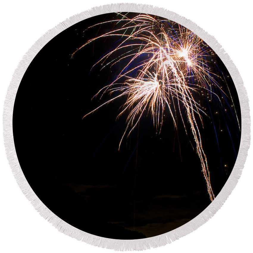 Fireworks Round Beach Towel featuring the photograph Fireworks  by James BO Insogna