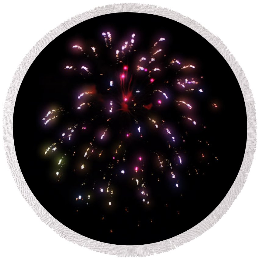 Fireworks Round Beach Towel featuring the photograph Fireworks 13 by Cathy Anderson