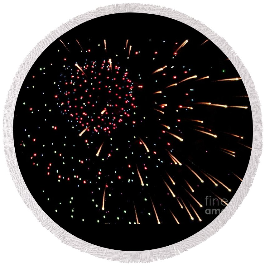 Fireworks Round Beach Towel featuring the photograph Fireworks 3 by Scenic Sights By Tara