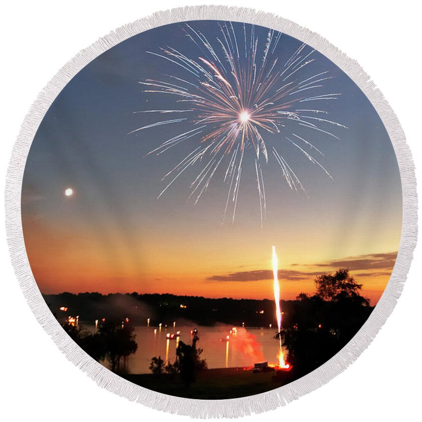 Fireworks Round Beach Towel featuring the photograph Fireworks And Sunset by Amber Flowers