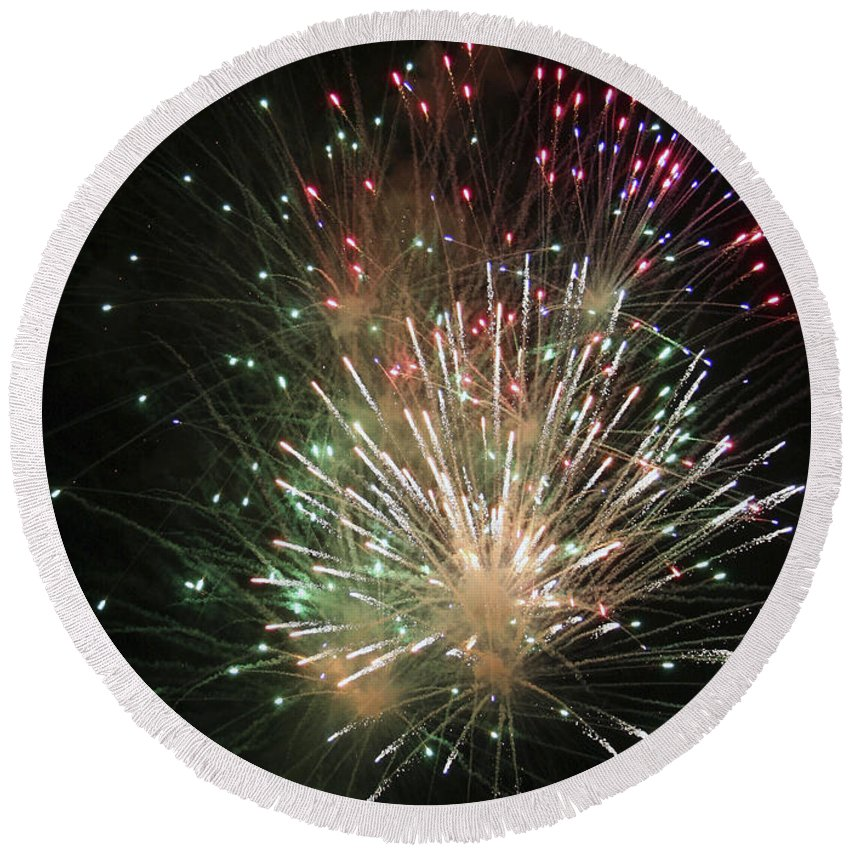 Fireworks Round Beach Towel featuring the photograph Fireworks by Margie Wildblood