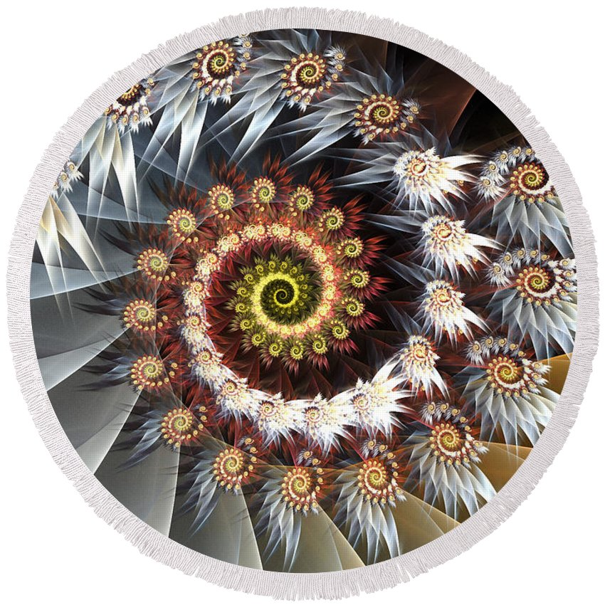 Fractal Art Round Beach Towel featuring the digital art Fireworks Of Isis by Amorina Ashton