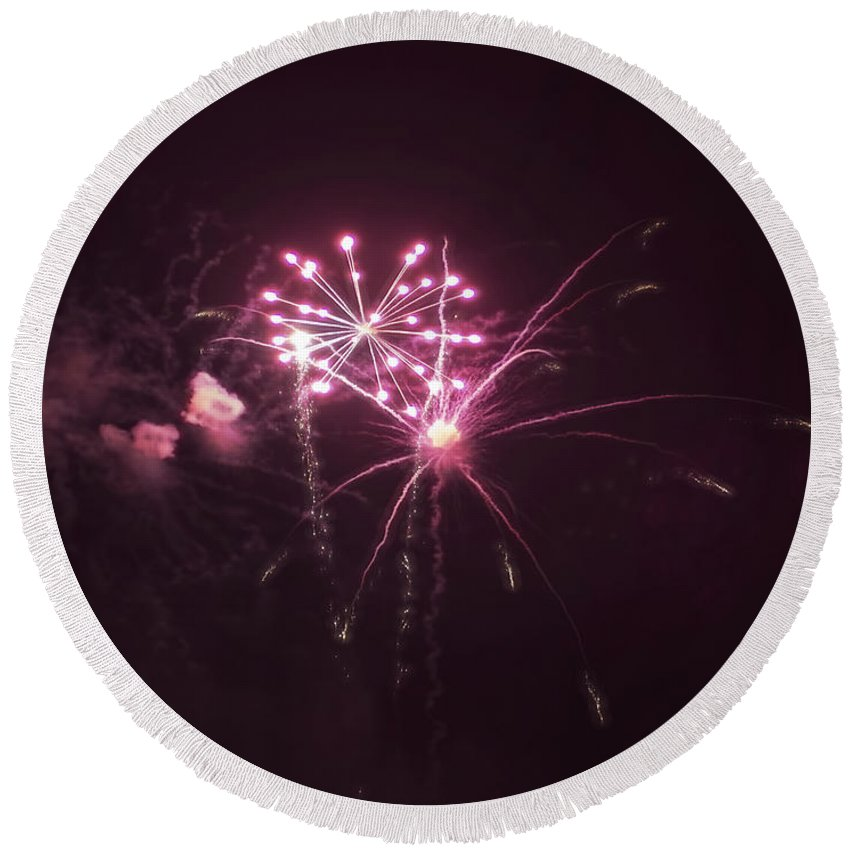 Round Beach Towel featuring the photograph Fireworks Over Puget Sound 13 by Cathy Anderson