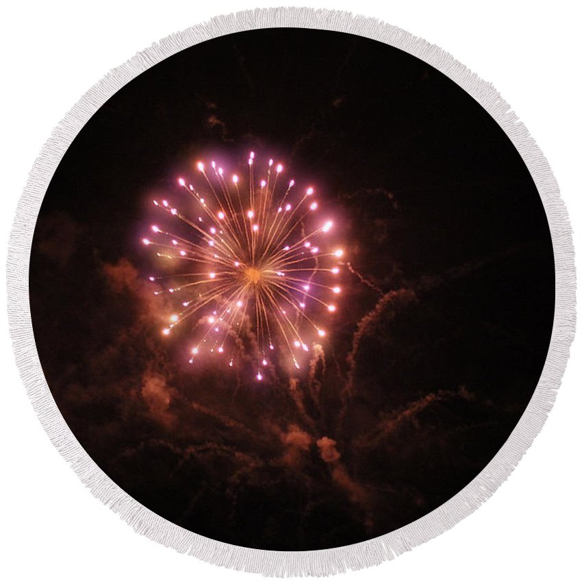 Round Beach Towel featuring the photograph Fireworks Over Puget Sound 2 by Cathy Anderson