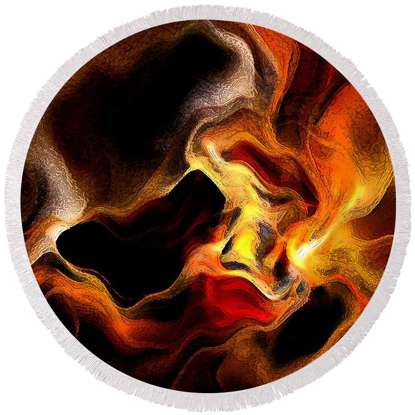 Abstract Round Beach Towel featuring the digital art Firey by Ruth Palmer