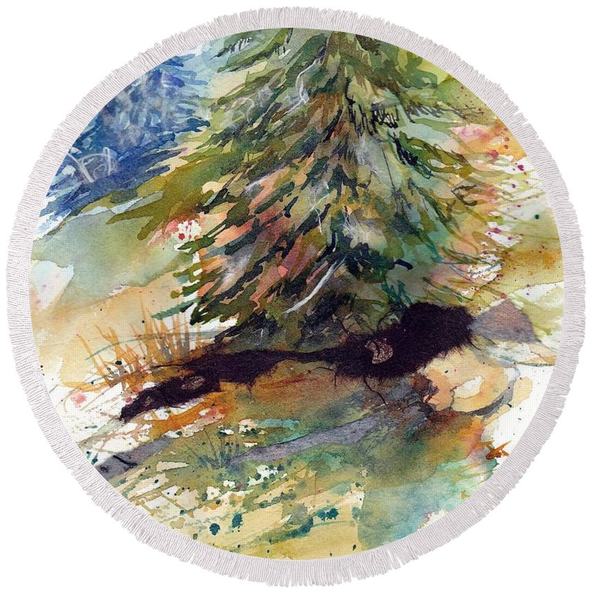 Landscape Round Beach Towel featuring the mixed media Firs On The Hill by Mary Lou McCambridge
