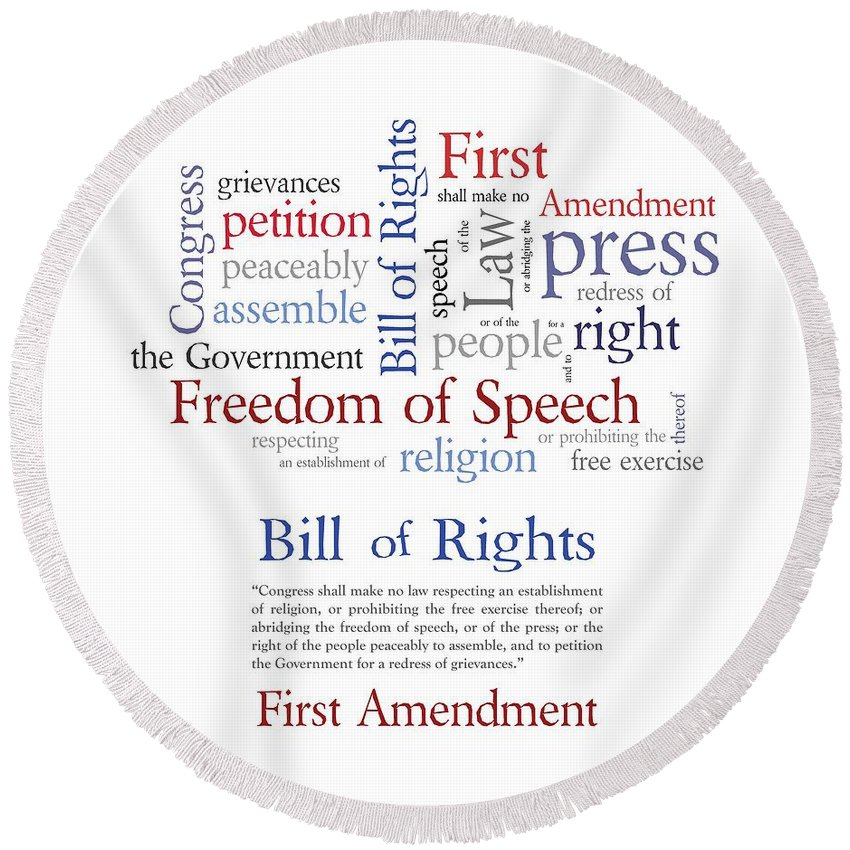 first amendment freedom of speech round beach towel for sale by