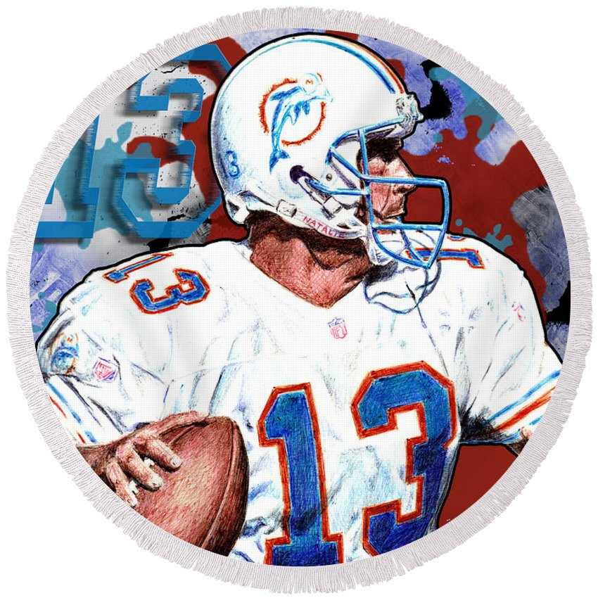 Dan Marino Round Beach Towel featuring the digital art First And Ten by Maria Arango