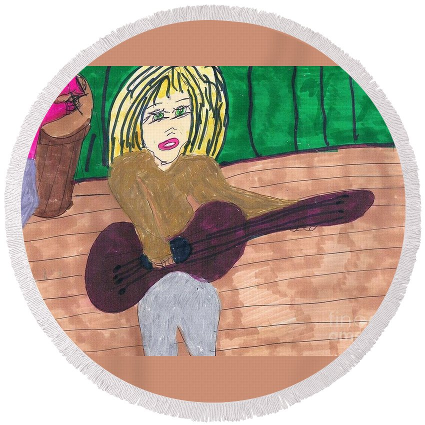 Girl Playing Guitar Round Beach Towel featuring the mixed media First Audition by Elinor Helen Rakowski