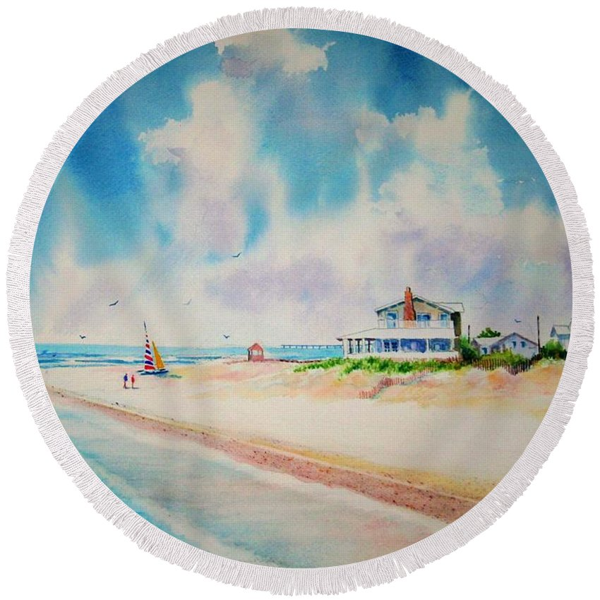 Beach Round Beach Towel featuring the painting First Day Of Vacation Is Pricless by Tom Harris