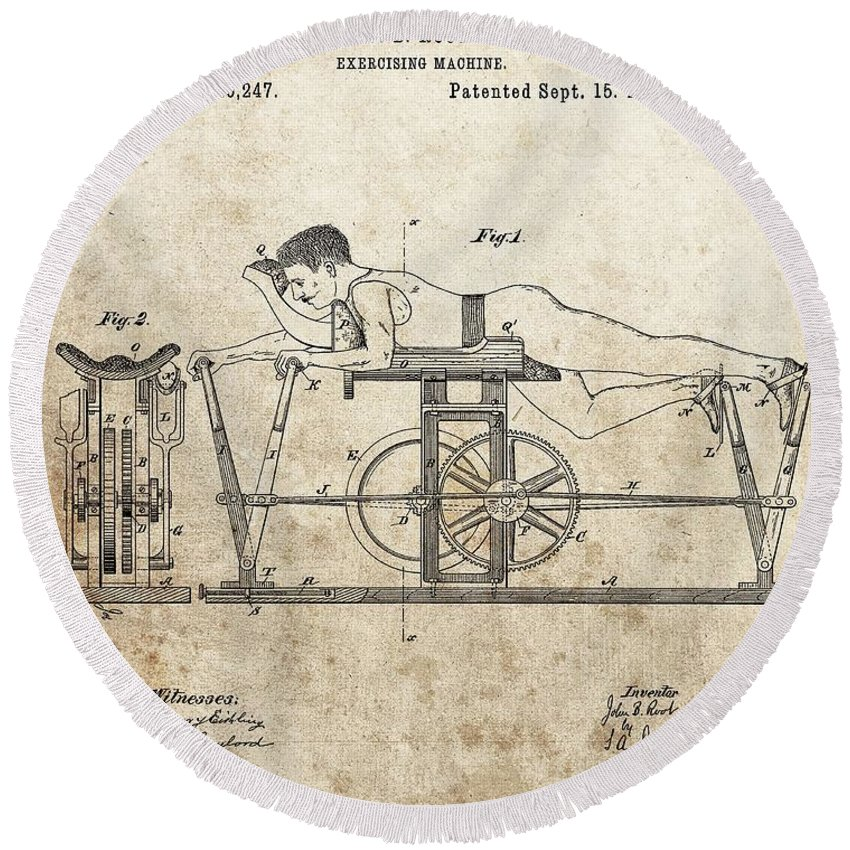 First Exercise Machine Patent Round Beach Towel featuring the drawing First Exercise Machine Patent by Dan Sproul