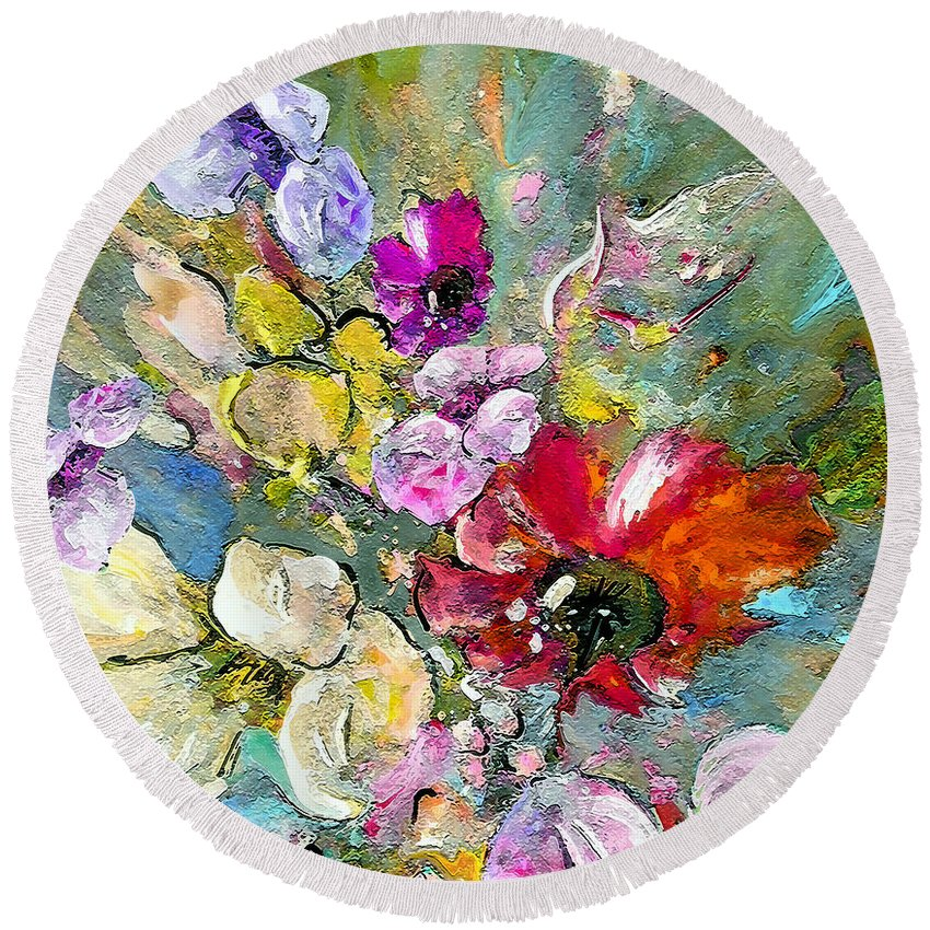 Nature Painting Round Beach Towel featuring the painting First Flowers by Miki De Goodaboom