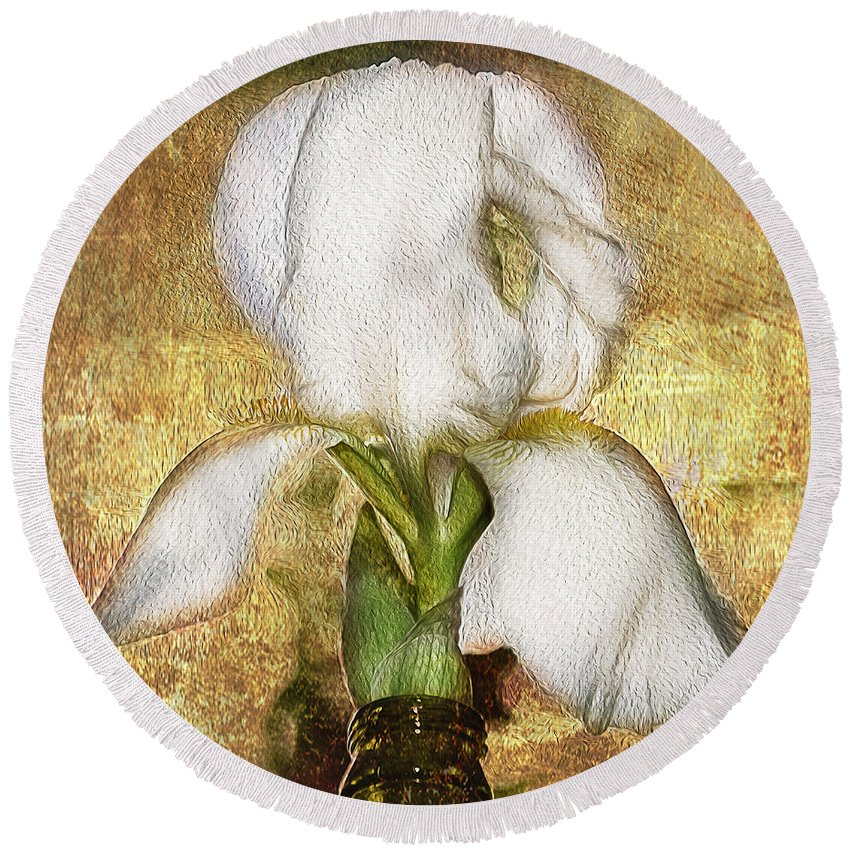 Iris Round Beach Towel featuring the photograph First Iris by Cynthia Wolfe