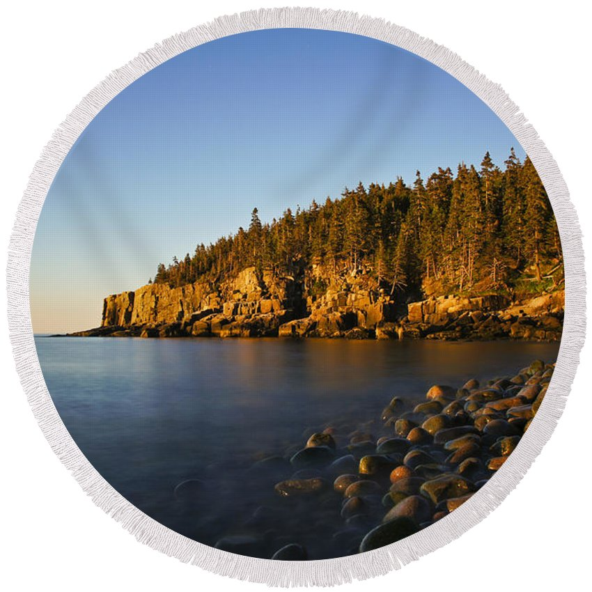 Acadia Round Beach Towel featuring the photograph First Light by Brian Kamprath