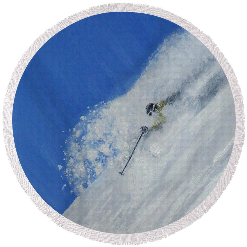 Ski Round Beach Towel featuring the painting First by Michael Cuozzo
