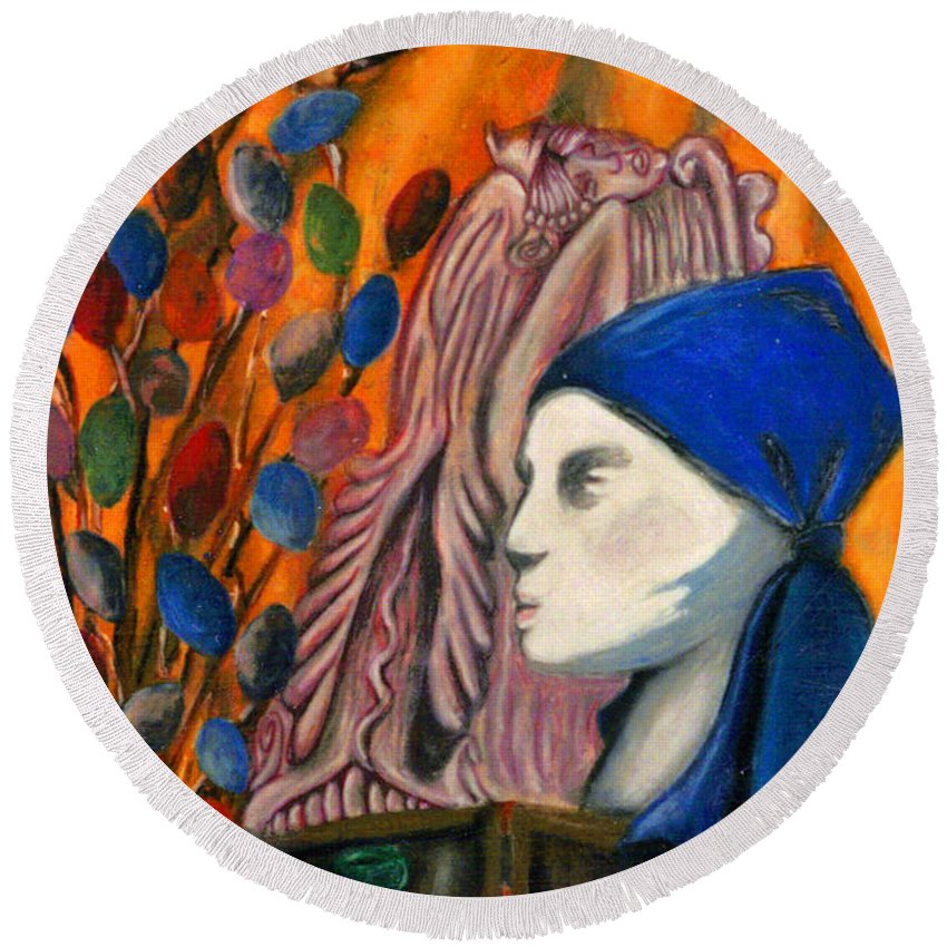 Mannequin Round Beach Towel featuring the pastel First Oil Pastel by Jean Haynes