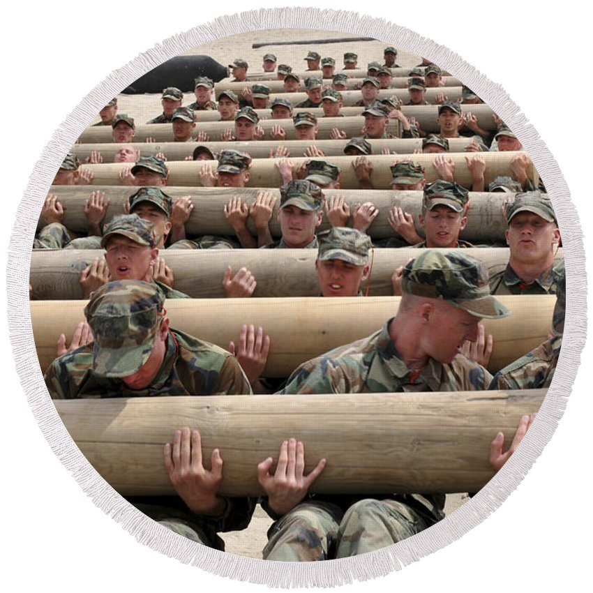 Naval Special Warfare Round Beach Towel featuring the photograph First Phase Buds Students Perform Log by Stocktrek Images