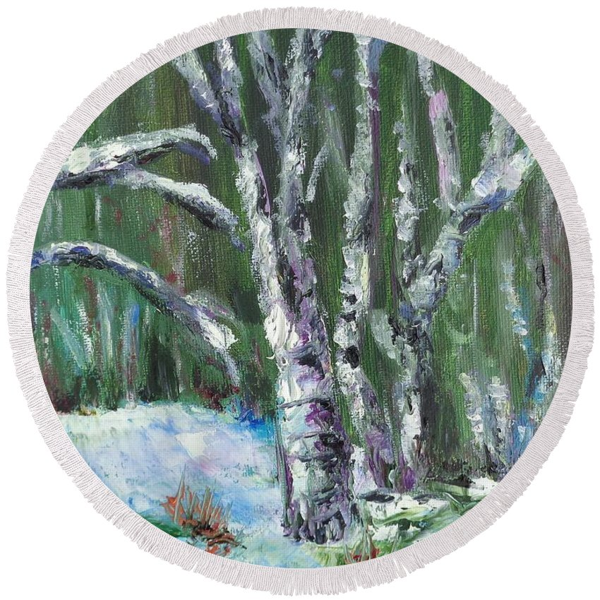 Landscape Round Beach Towel featuring the painting First Snow by Eydie Paterson