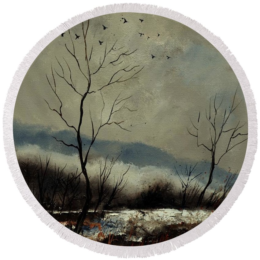 Landscape Round Beach Towel featuring the painting First snow in Harroy by Pol Ledent