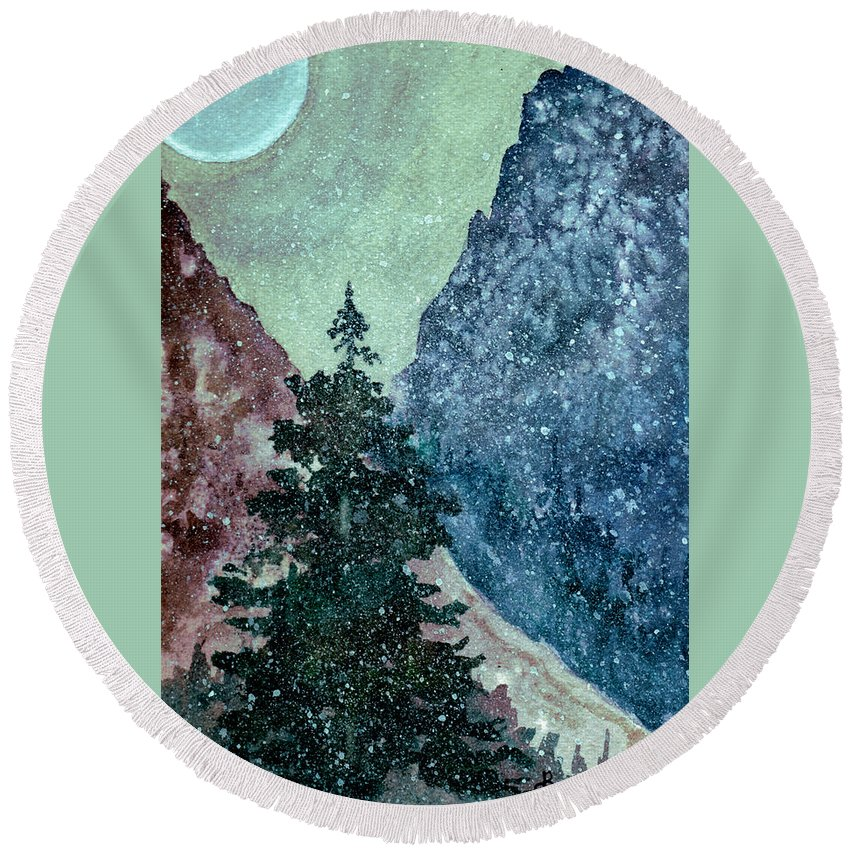 Landscape Round Beach Towel featuring the painting First Snowfall by Brenda Owen
