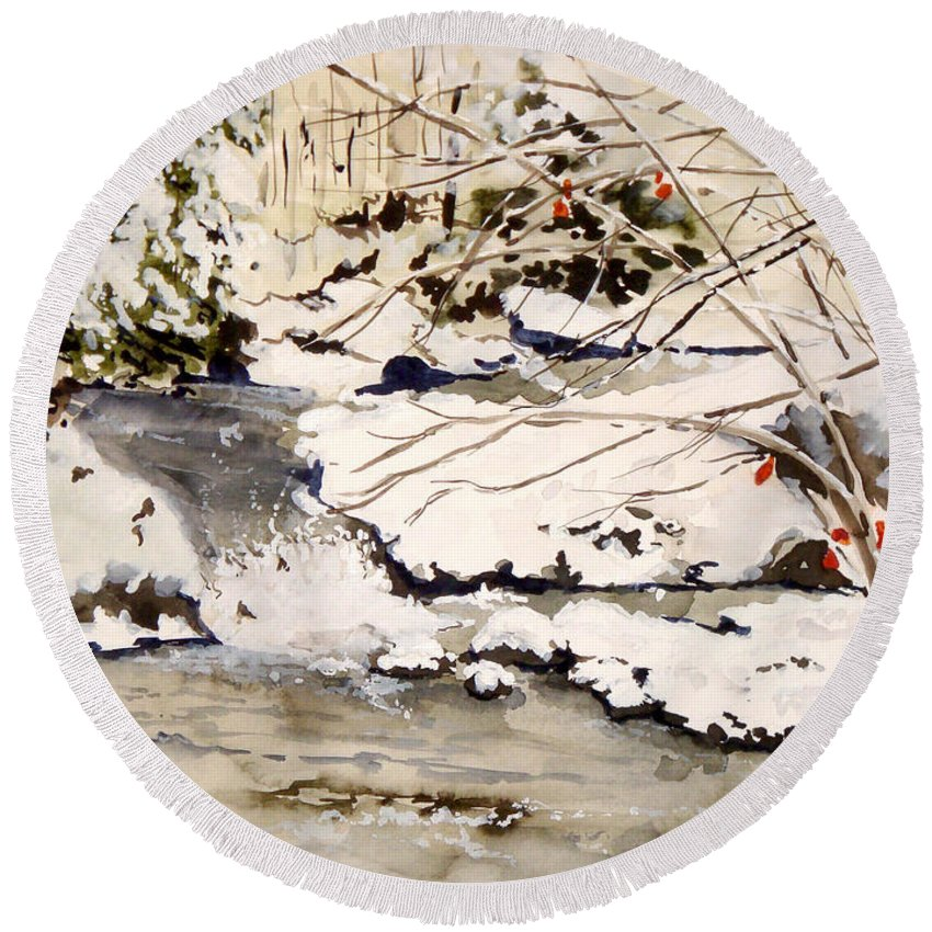 Winter Scene Round Beach Towel featuring the painting First Snowfall by Jean Blackmer
