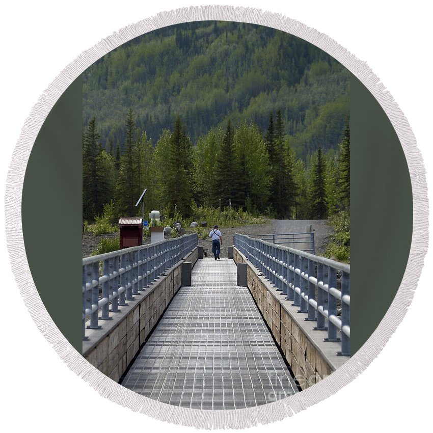 Bridge Round Beach Towel featuring the photograph First Steps Down New Roads by Denise McAllister