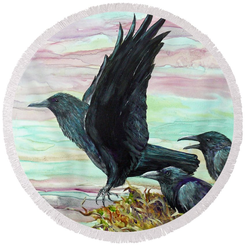 Raven Round Beach Towel featuring the painting First Time Out by Dee Carpenter