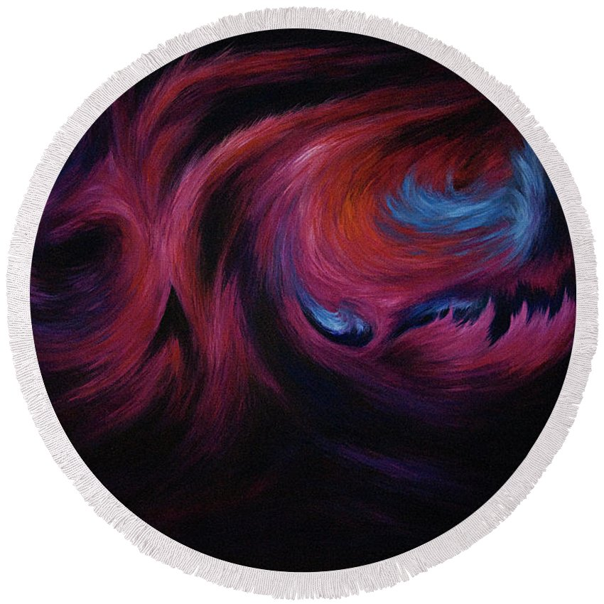 Abstract Round Beach Towel featuring the painting First Transcendence by Rachel Christine Nowicki
