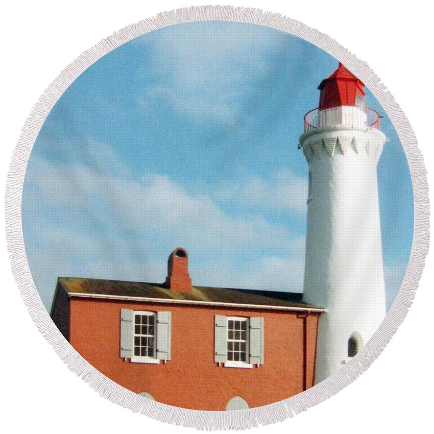 Fisgard Lighthouse Round Beach Towel featuring the photograph Fisgard Lighthouse by Will Borden