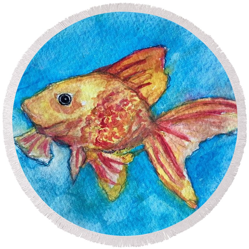 Goldfish Round Beach Towel featuring the painting Fish Bowl by Katie Barnes