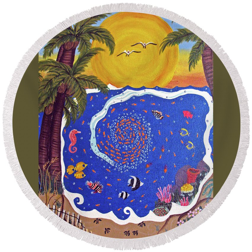 Landscape Round Beach Towel featuring the painting Fish Bowl by Ruth Fabiano