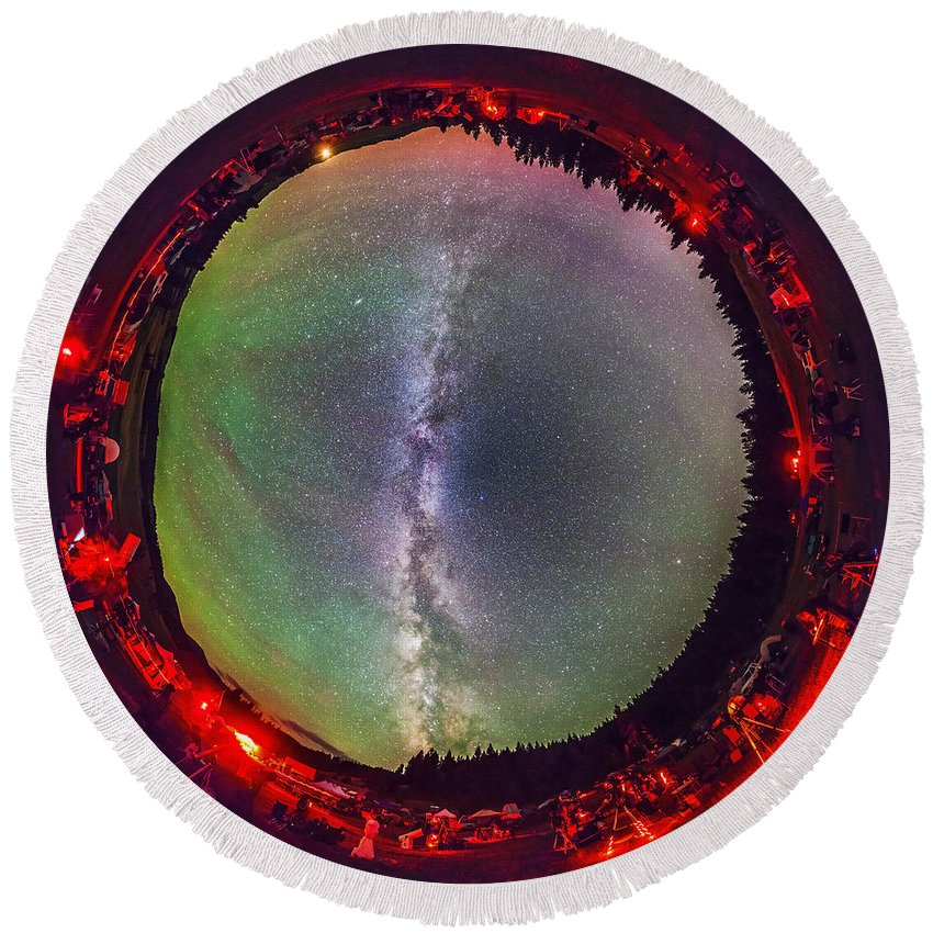Big Dipper Round Beach Towel featuring the photograph Fish-eye Panorama Of Milky Way by Alan Dyer