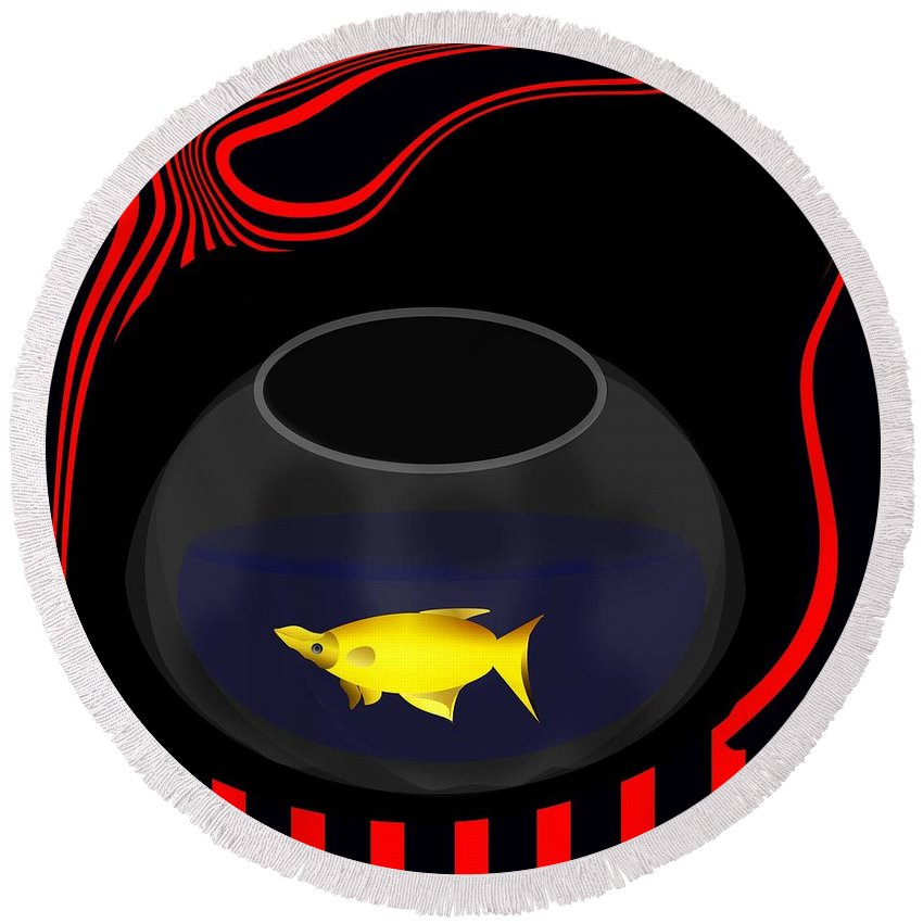 Fish Round Beach Towel featuring the digital art Fish In A Bowl by Bukunolami Olamilokun