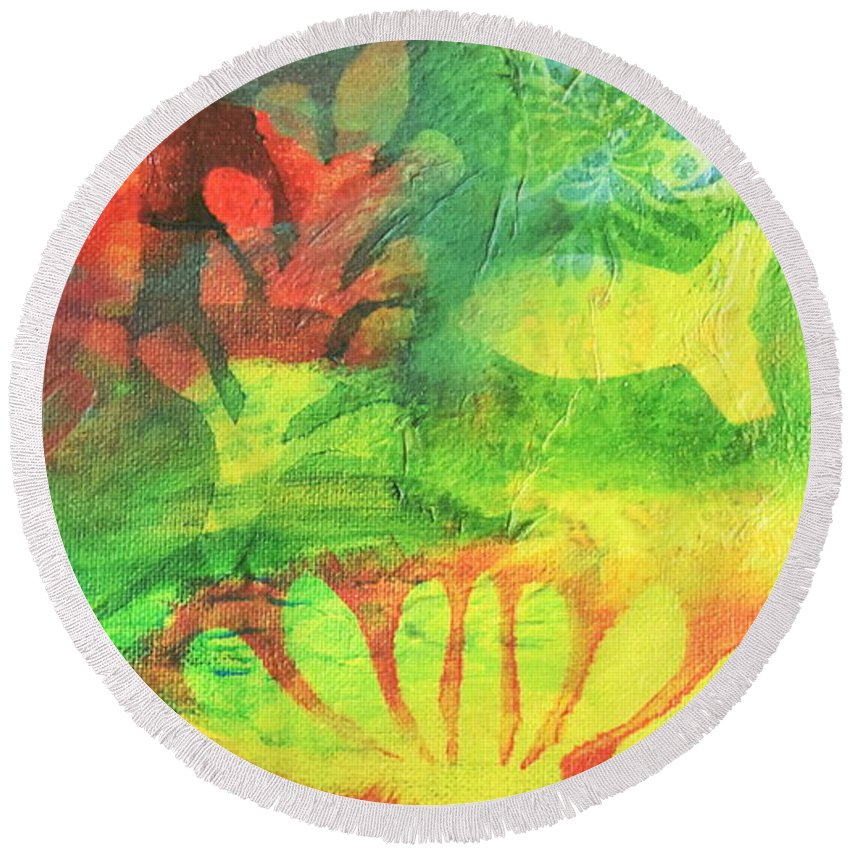 Fish Round Beach Towel featuring the mixed media Fish In Green by HelenaP Art