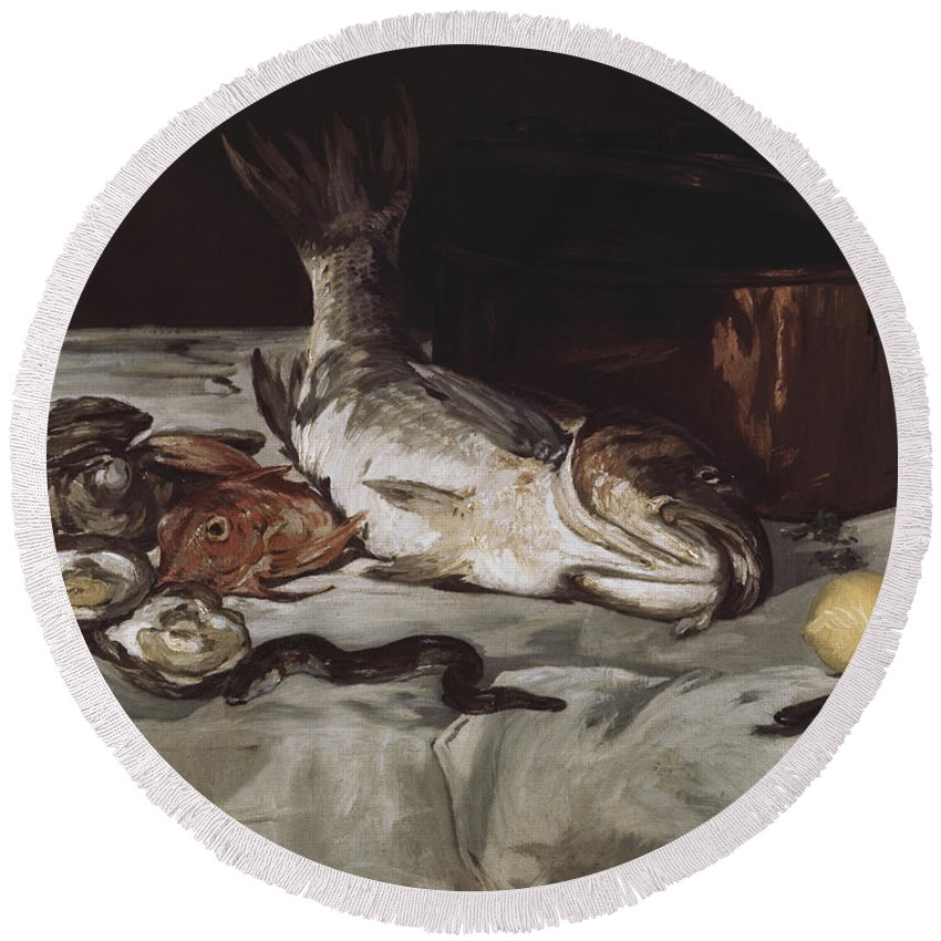Fish (still Life) By Edouard Manet Round Beach Towel featuring the painting Fish by MotionAge DesignsEdouard Manet