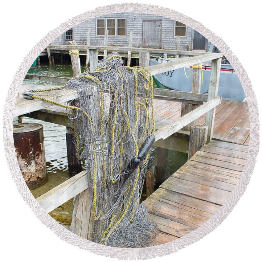 Michigan Round Beach Towel featuring the photograph Fish Net by Linda Kerkau