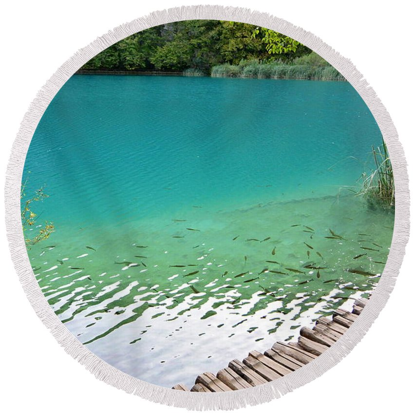 Kaluderovac Lake Round Beach Towel featuring the photograph Fish Of Kaluderovac Lake by Two Small Potatoes
