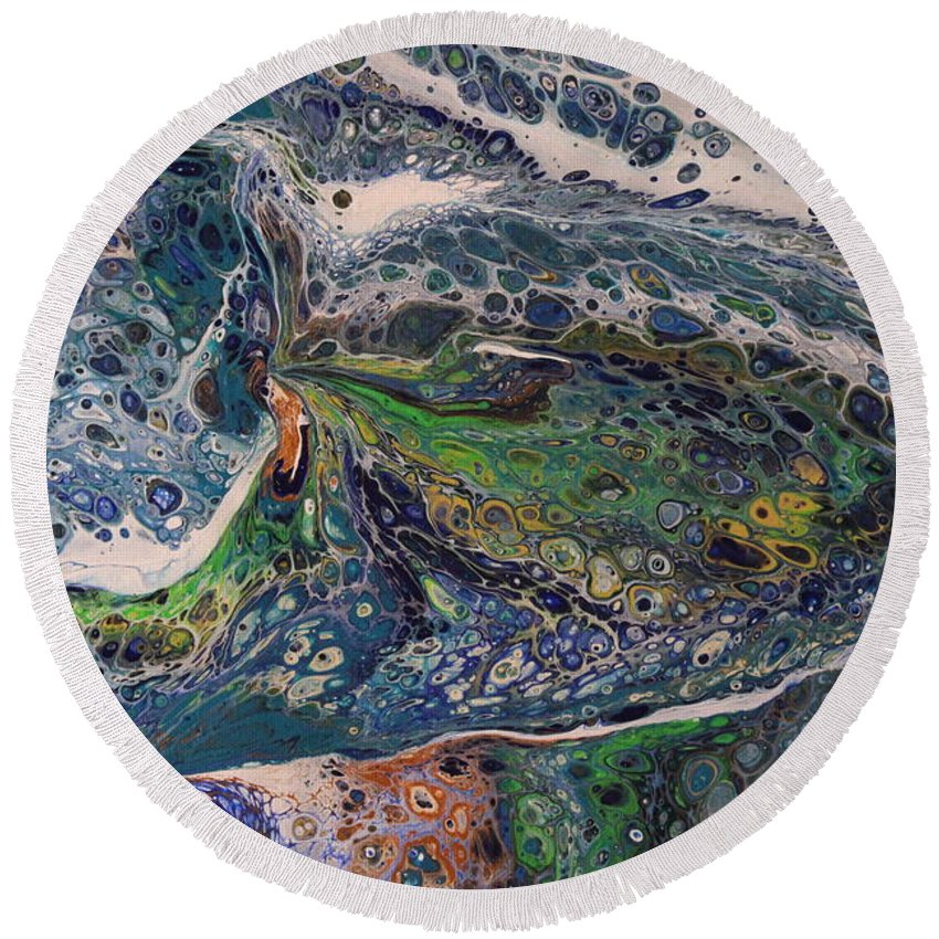 Round Beach Towel featuring the painting Big Fish by Shannon Fomby