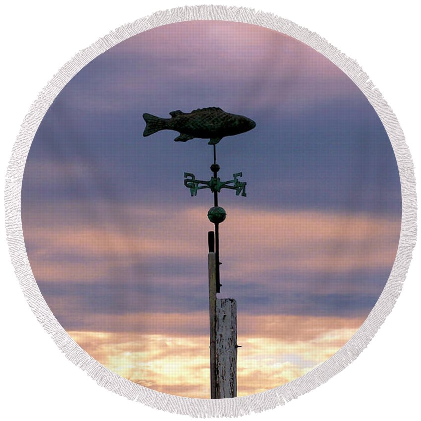 Fish Round Beach Towel featuring the photograph Fish Weather Vane At Sunset by Charles Harden