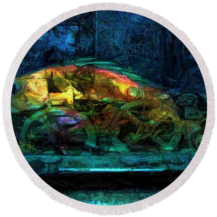 Fish Round Beach Towel featuring the digital art Fish Wheels by Ron Bissett