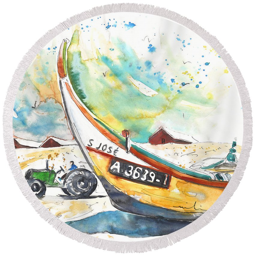 Portugal Round Beach Towel featuring the painting Fisherboat In Praia De Mira by Miki De Goodaboom