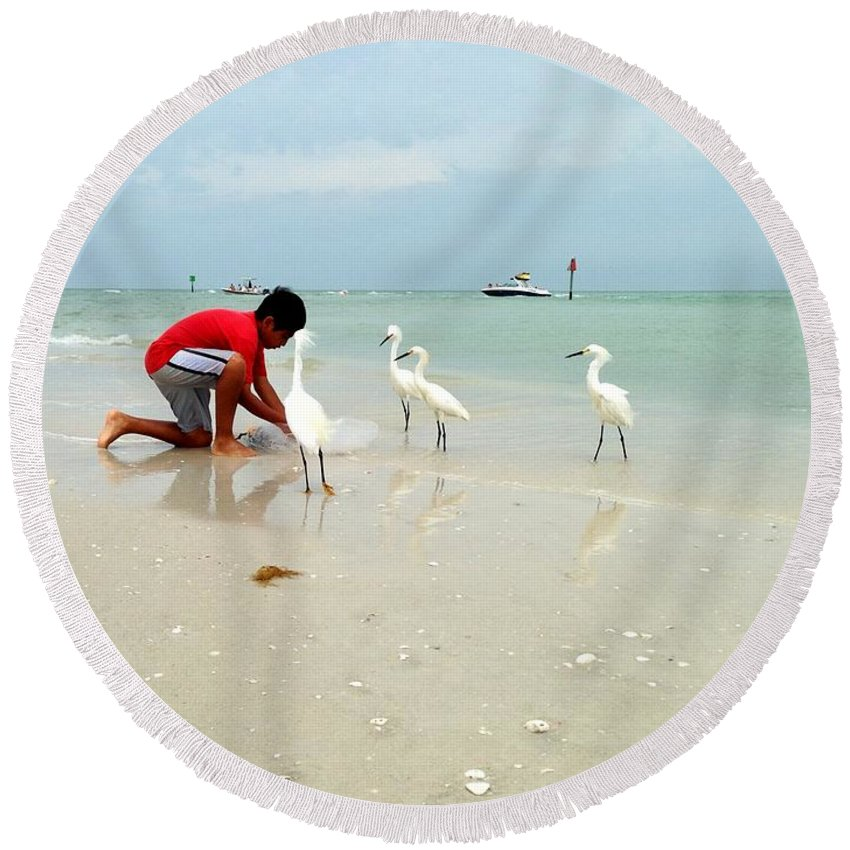 Fishing Round Beach Towel featuring the photograph Fisherboy by Jane Merrit