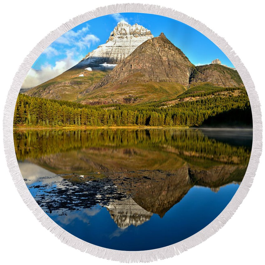 Fishercap Round Beach Towel featuring the photograph Fishercap Snowcap Reflections by Adam Jewell