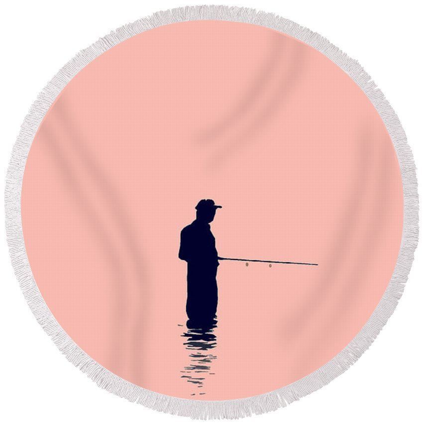 Fishing Round Beach Towel featuring the photograph Fisherman by David Lee Thompson