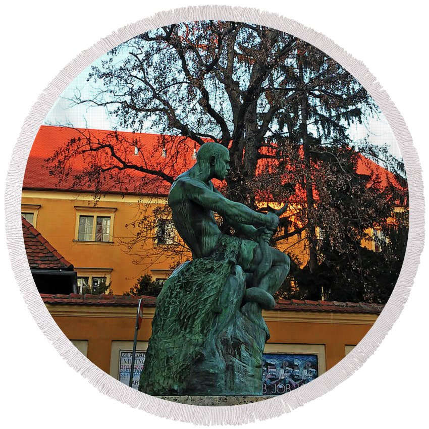 Fisherman Round Beach Towel featuring the photograph Fisherman Fight, Zagreb by Jasna Dragun