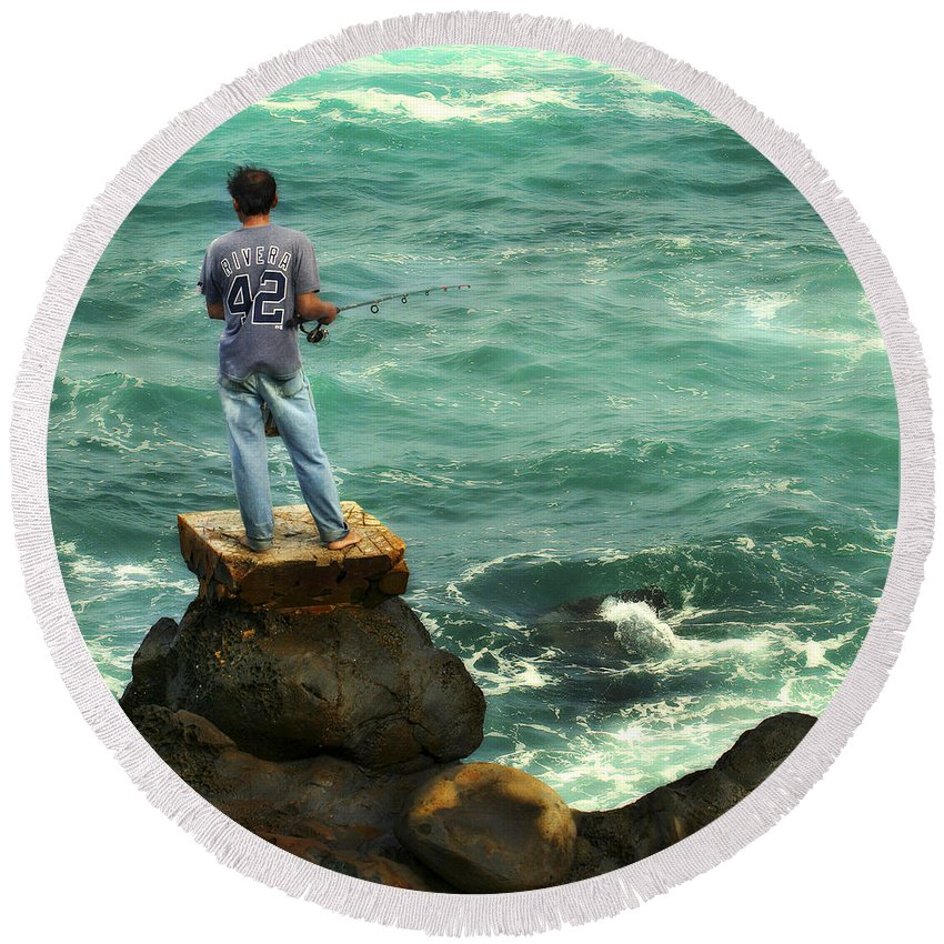 Americana Round Beach Towel featuring the photograph Fisherman by Marilyn Hunt