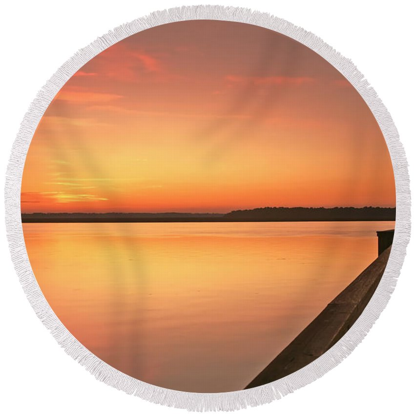 Sunset Round Beach Towel featuring the photograph Fisherman by Phill Doherty